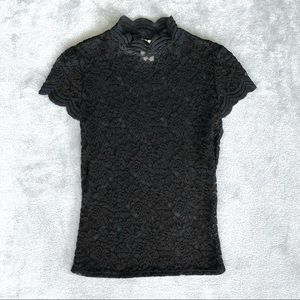 90s Lace Sheer Top Short Sleeve Shirt Mock Neck